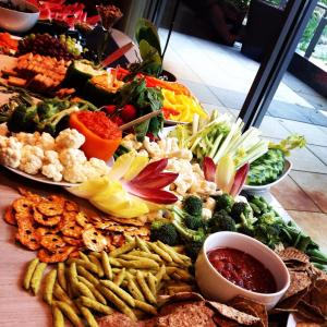 A bountiful crudité table was perfect for an evening of guiltless indulging