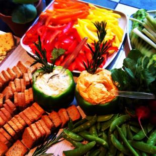 Crudités with hummus.
