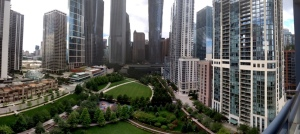Views from The Lancaster  building at Lakeshore East. New Eastside skyline.